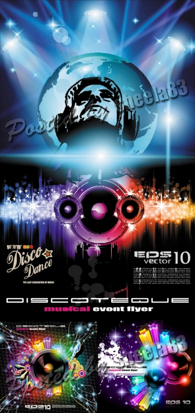 Disco Party Backgrounds Vector 3